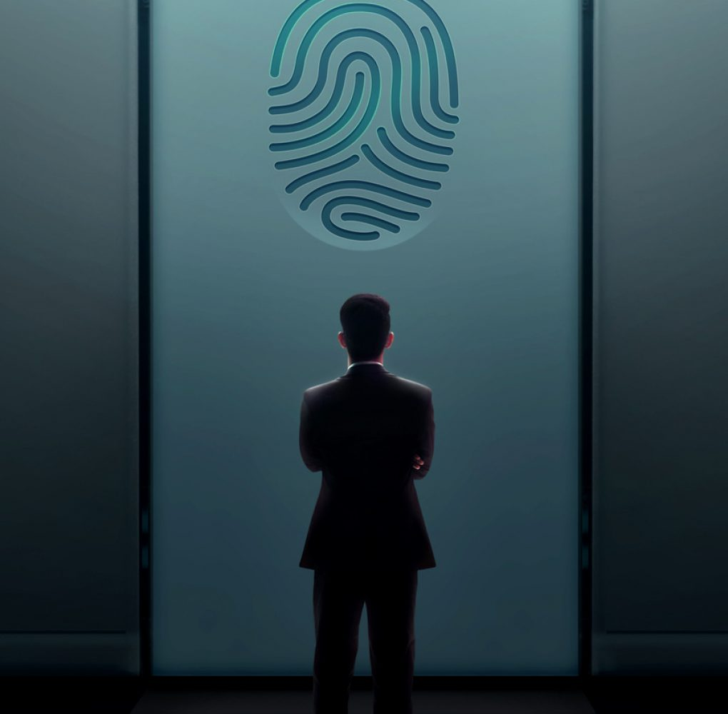 Business Security Concept. Businessman Standing in front of the Door with Fingerprint and Thinking to Unlock a System or Problem